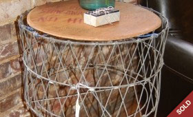 Vintage Laundry Basket Side Table