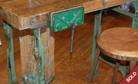 Vintage Workbench & Stool