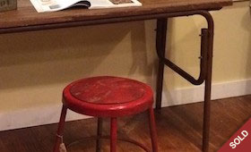 Desk and Little Red Stool