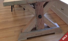 Custom Farm Table with Iron Pipe Brace